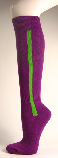Purple baseball softball socks with bright green stripe