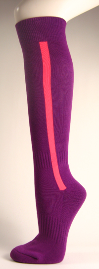 Purple baseball softball socks with bright pink stripe