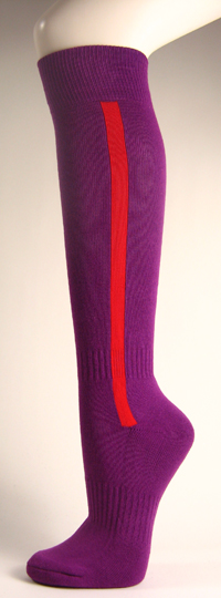 Purple baseball softball socks with red stripe