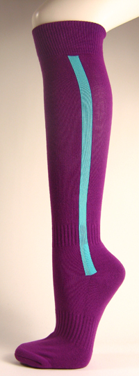 Purple baseball softball socks with sky blue stripe