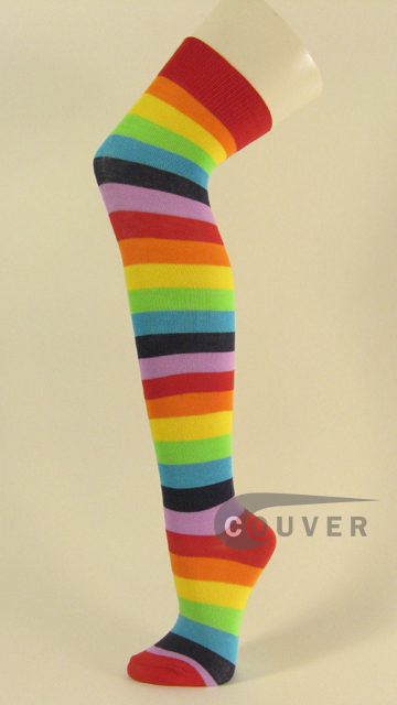 Rainbow Over Knee Socks Wholesale from COUVER 6PAIRS