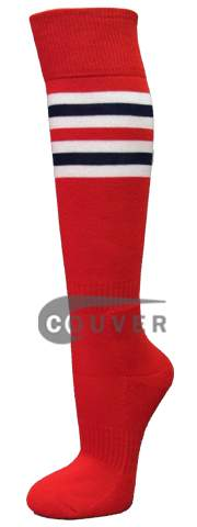 Red with White Navy Red Striped Knee Softball Sock 3PAIRs