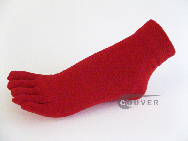 Red COUVER 5finger Toes Ankle Toe Socks Wholesale, 6Pairs