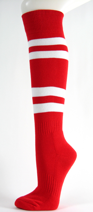 Red with White Striped Couver Knee High Sport/Softball Sock 3PRs