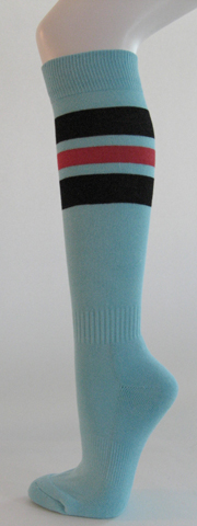 Light sky blue with black bright pink stripe knee high softball 3PAIRs