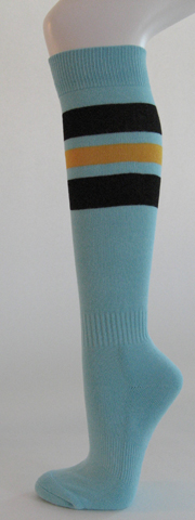 Light sky blue with black golden yellow stripe knee high softball 3PAIRs