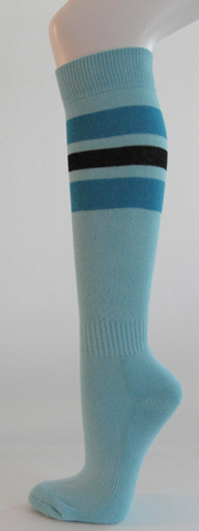 Light sky blue with bright blue black striped knee softball sock 3PAIRs