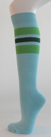 Light sky blue with bright green dark green stripe knee softball 3PAIRs