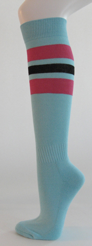 Light sky blue with bright pink black striped knee softball sock 3PAIRs