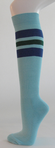 Light sky blue with blue dark green stripe knee softball socks [3 PAIRs]