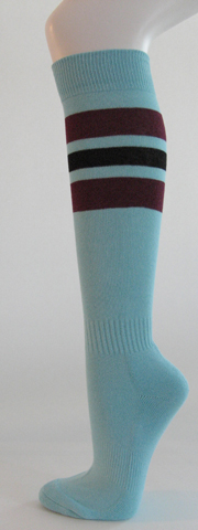 Light sky blue with maroon and black striped knee softball socks 3PAIRs