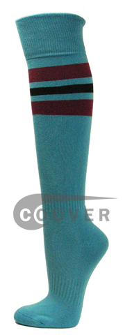 SkyBlue Maroon Black Striped COUVER Sports Knee High Socks 3PRs