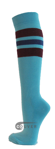 SkyBlue Maroon Blue Stripe Knee Hi Softball/Sports Socks[3 Pairs]