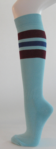 Light sky blue with maroon and blue striped knee softball socks 3PAIRs