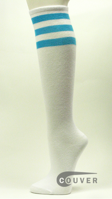 Sky Blue Stripe on White Couver Cotton Fashion Knee Socks 6PAIRS