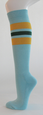Light sky blue with yellow and dark green stripe knee softball 3PAIRs