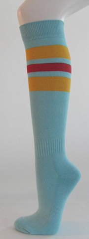 Light sky blue with golden yellow red stripe knee softball socks 3PAIRs