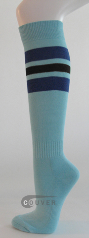 Light SkyBlue Blue Black Striped Knee Hi Softball/Sports Socks[3Pairs]