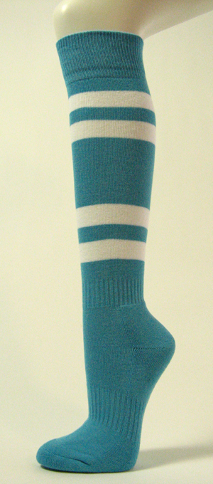 Sky Blue w/ 4White Stripes Couver Sports Knee Softball Sock 3PRs
