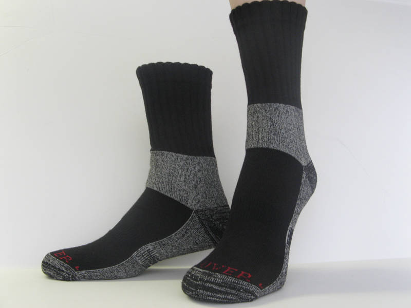 Trekking Hiking Socks Black Charcoal Gray Crew [1pair]