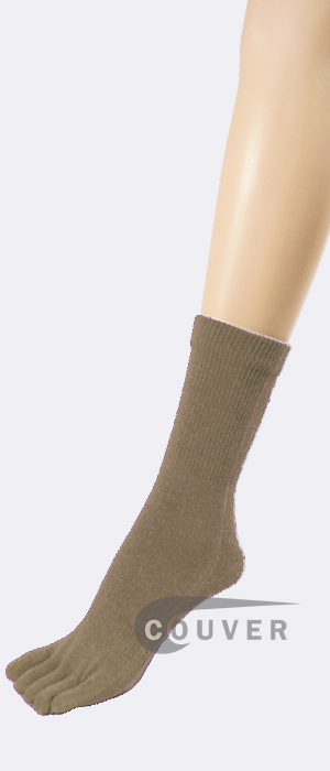 Taupe COUVER Five Finger Toed Toe Socks Quarter Wholesale 6PRs