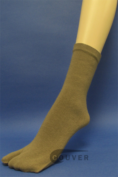 Couver Taupe Wholesale Split Toed Quarter High Toe Socks, 6PAIRS