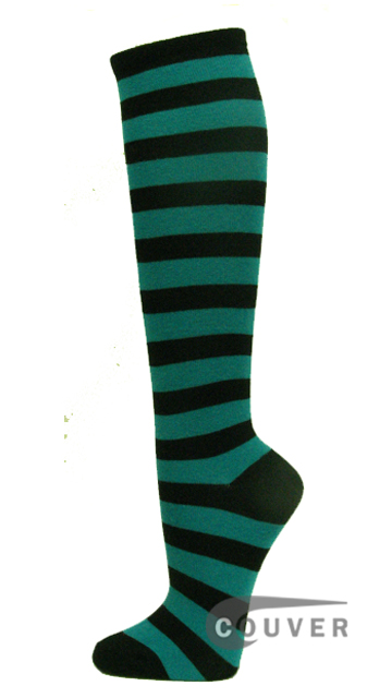 Teal And Black Cotton Fashion Knee Socks From Couver