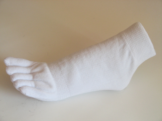 Thicker White ankle toe socks terry cloth