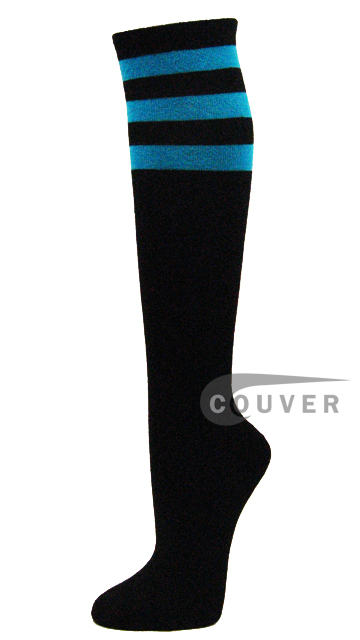 Turquoise Stripes on Black COUVER Cotton Non-athletic Knee Sock 6PRs