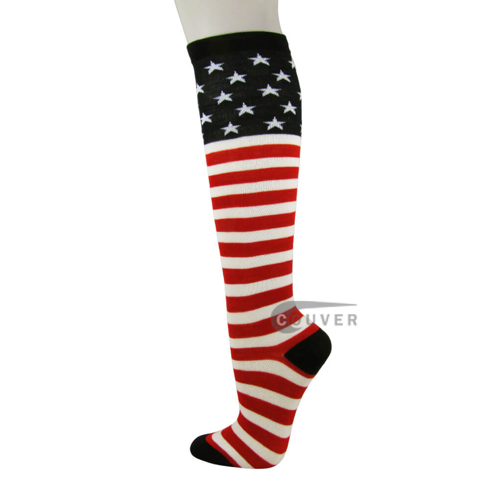 USA Flag Stars and Stripes Knee High American Pride Flag Socks[6 Pairs]