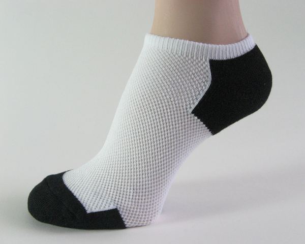 White black no show athletic running socks breathable mesh