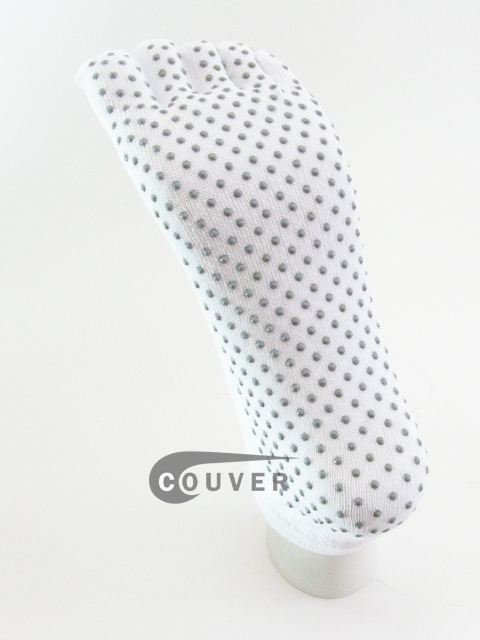 White No Skid No Slip Sole No-Show COUVER Yoga Toed Socks Wholesale 6PRs