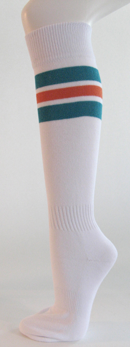 White with Teal Green and Dark Orange Striped Knee Socks 3PAIRs
