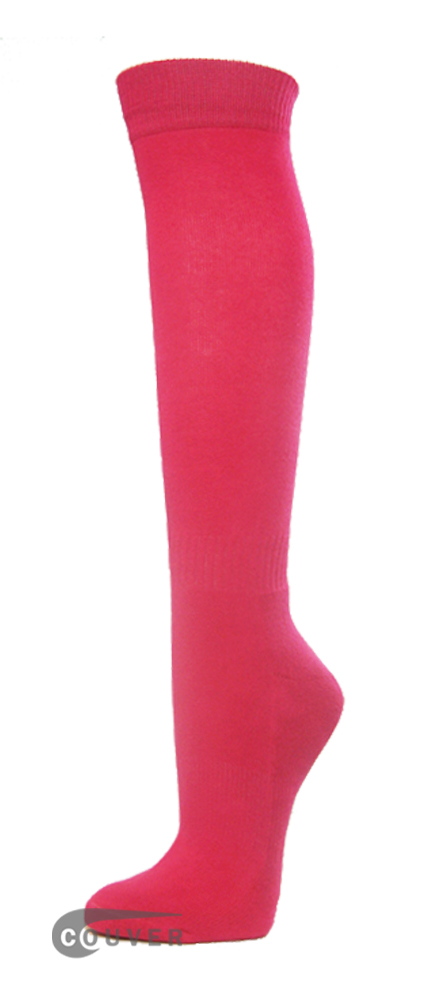 Bright Pink Premium Quality Couver Sports High Sock 1Dozen WHOLESALE