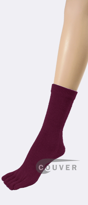 Wine/Maroon COUVER Five Finger Toed Toe Socks Quarter Wholesale 6PRs