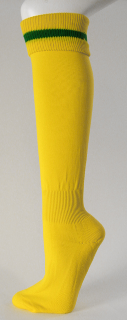 Yellow Soccer Socks with Green Horizontal Stripe Knee High [3Pairs]