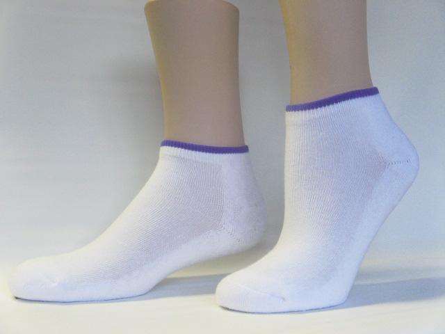 purple trim low cut running athletic socks