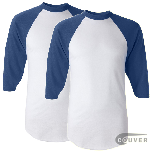 Augusta Sportswear Adult's Baseball Jersey White / Blue - 2 Pieces Set