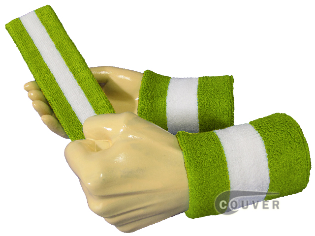 Covuer Lime Green White Lime Green 2 colored Striped sweatbands Set
