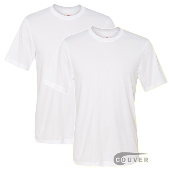 Hanes Short Sleeve Cool Dri UPF 50+ Performance Tee White -2Piece Set