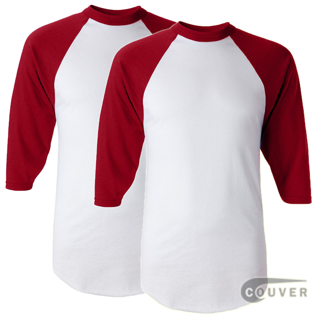 Augusta Sportswear Adult's Baseball Jersey White / Red - 2 Pieces Set