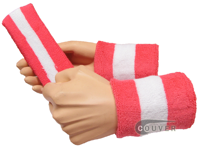 Bright Pink White Bright Pink 2color striped sweatbands set