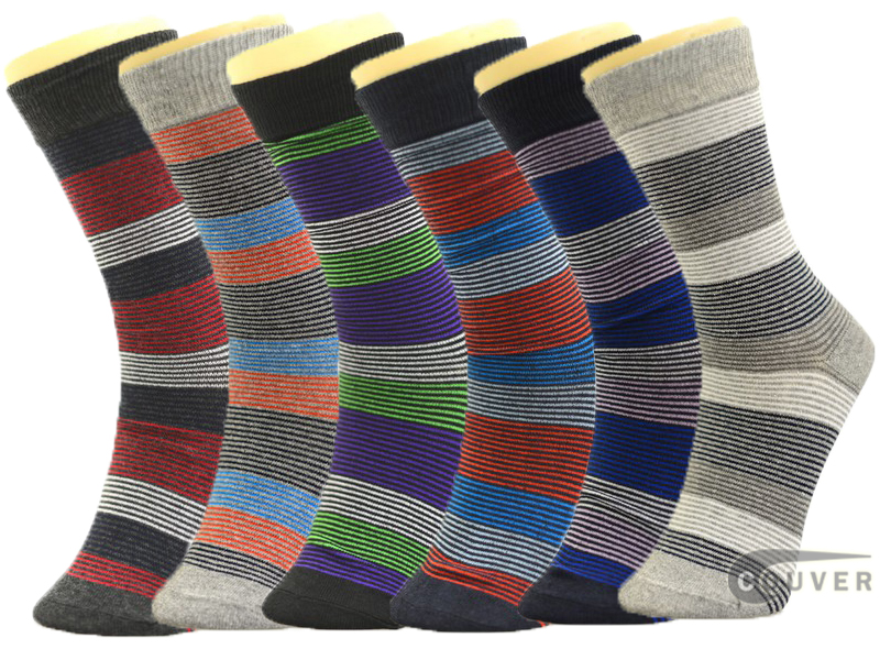Mens Colorful Thin Multi-Stripes Dress Socks Mixed 6 Pairs Wholesale
