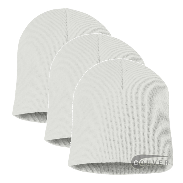 White 8inch Acrylic Knit Beanies Cap 3Pieces Bulk Sale