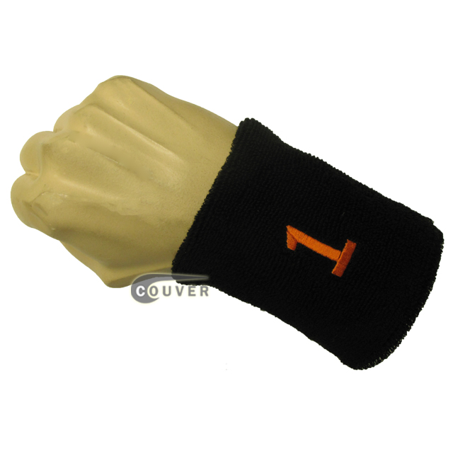 Black numbered sweat band number1 one embroidered in orange