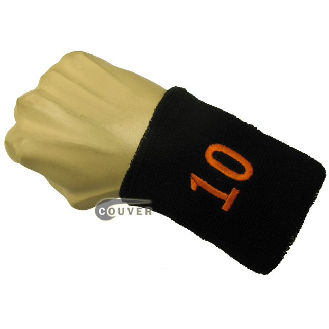 Black with Orange Number 10 embroidered Sweat Wristband