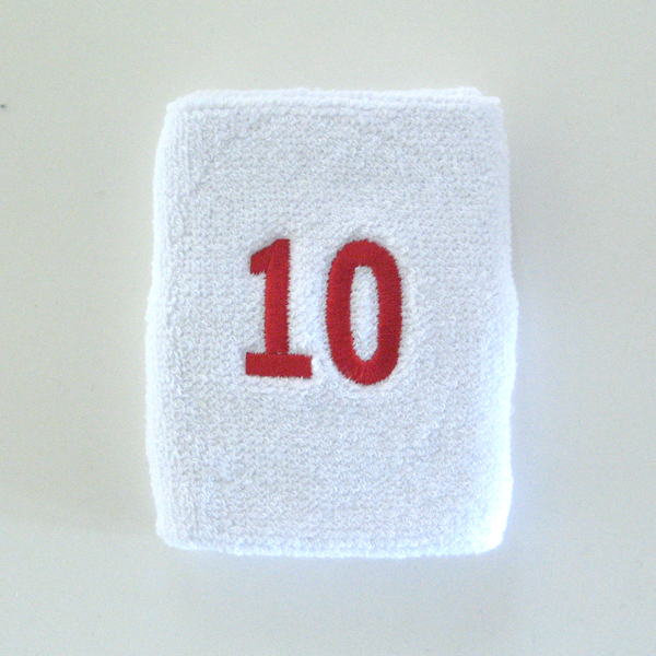 Numbered white sweatband number10 embroidered in red [1pc]