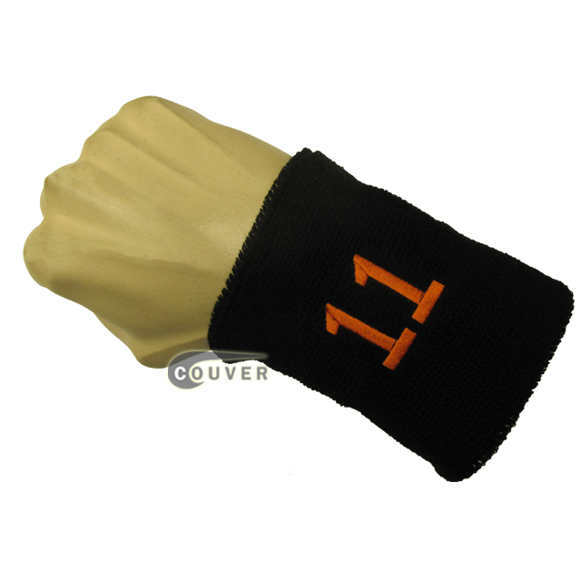 Black numbered sweatband number11 embroidered in orange [1pc]