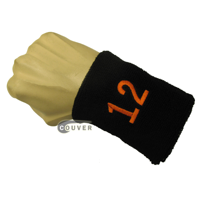 Black with Orange Number 12 embroidered Sweat Wristband