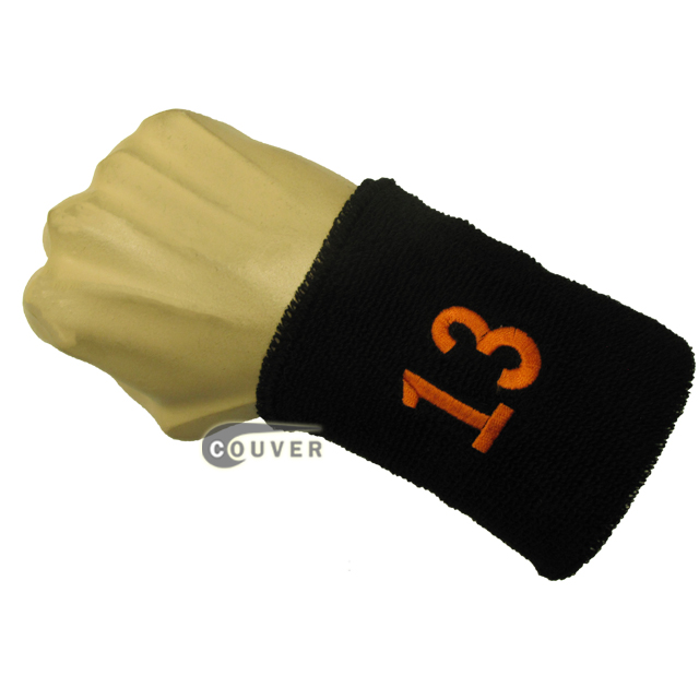Black with Orange Number 13 embroidered Sweat Wristband